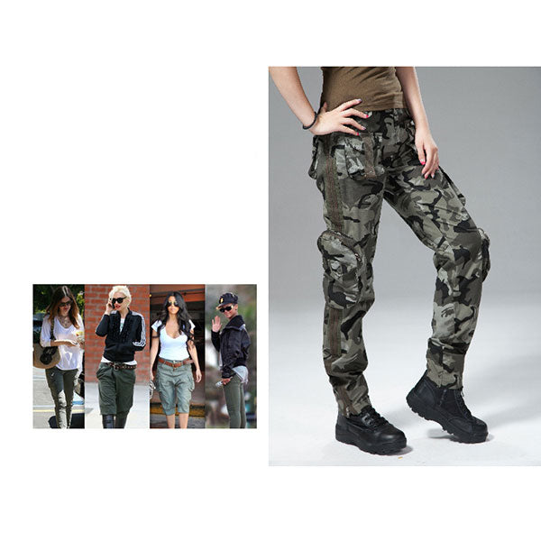 Women Military Style Multi-Pocket Pant Large Size Available