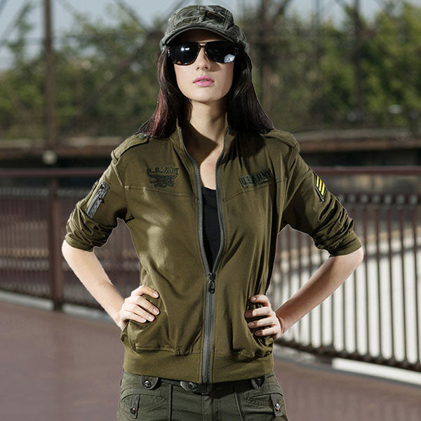 Army Style Women T-Shirt Coat