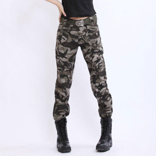 Women Slim Wear 100% Cotton Multi-Pocket Pant