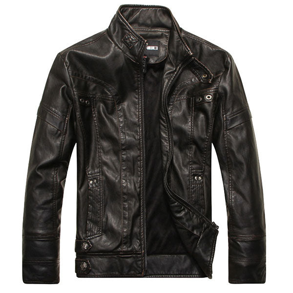 High Quality Stand Collar Plain Pocket Men's PU Jacket