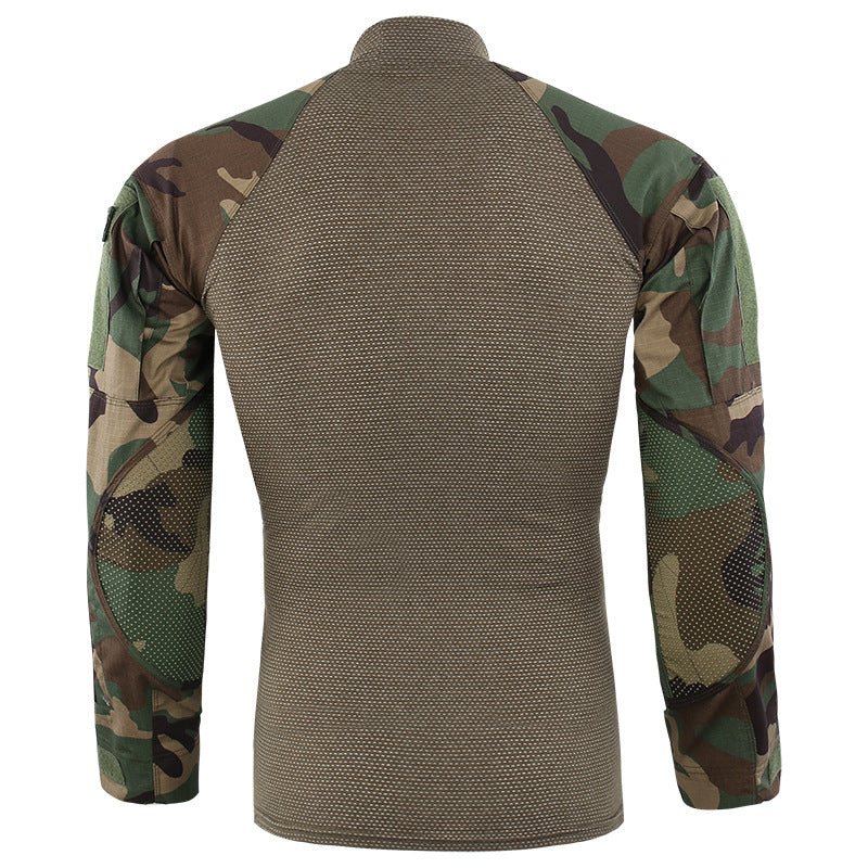 Round Collar Army Style Men's Long Sleeve Shirt