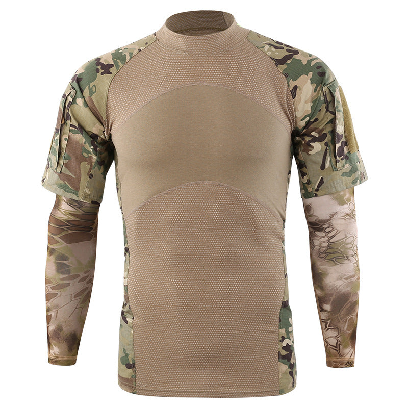 Round Collar Army Style Men's T-Shirt With Sleeve