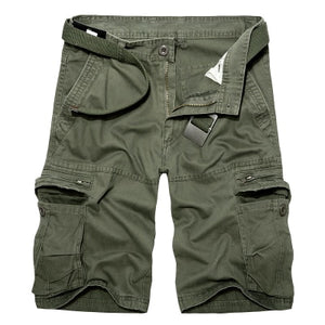 Men Military Cargo Shorts Summer Cotton Shorts Loose Multi-Pocket