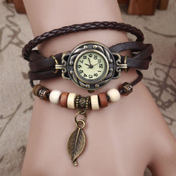 2017 HotSale Vintage Bracelet Quartz Watch with Leaf Pendant (PU Leather)