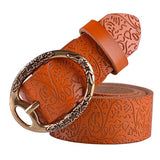 High Quality Embossed Design Leather Belts for Women