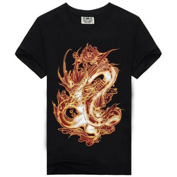 100% Cotton 3D Fiery Dragon Shirts