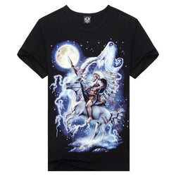 100% Cotton 3D White Wolf Shirts