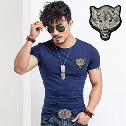 2017 O Neck Wine Men's T-Shirt Wolf Fashion Design 95% Cotton