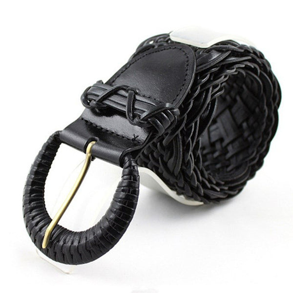 New 2017 High Quality Knitted Leather Belts for Women