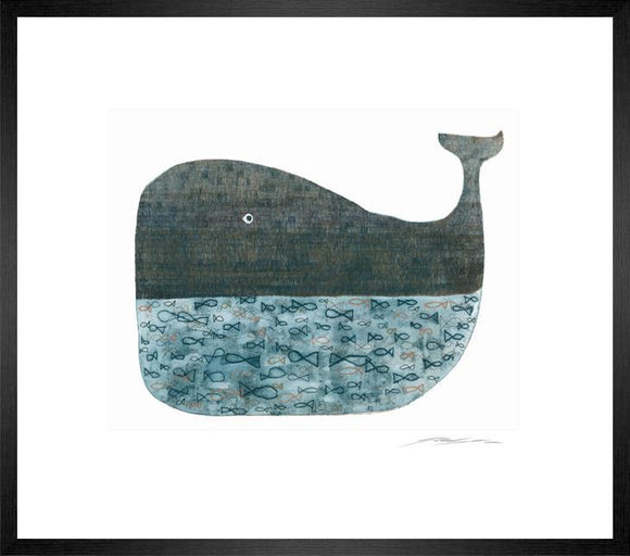 Blue Whale Etching II Framed Print