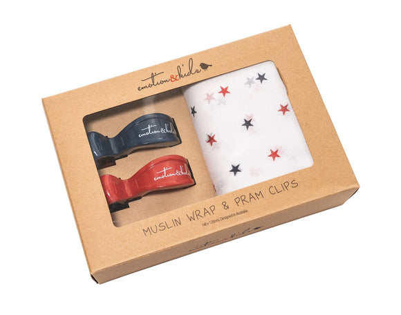 Red Navy Star Muslin Wrap and Red and Navy Clip Pack
