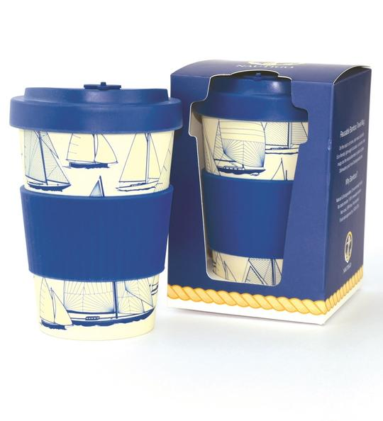 Bamboo Travel Mug 'Sail Away'