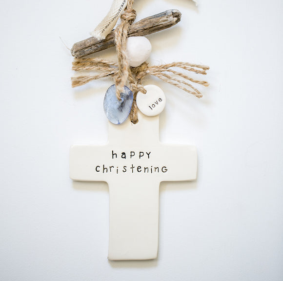 Ceramic Small Cross Decor 'Happy Christening' or 'personalise'