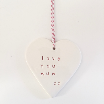 Large Heart Ceramic Tag 'Love you Mum'
