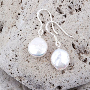Coin Pearl Natural Earring