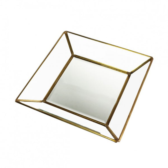 Antique Brass Glass Tray 24cm