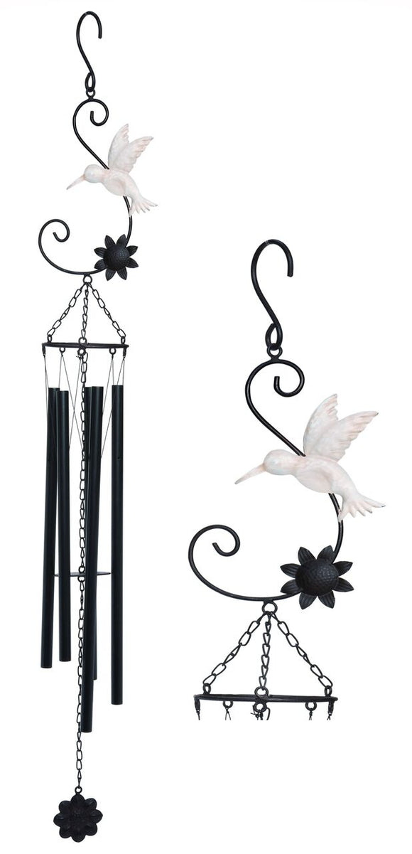 Metal Humming Bird and Flower Wind Chime
