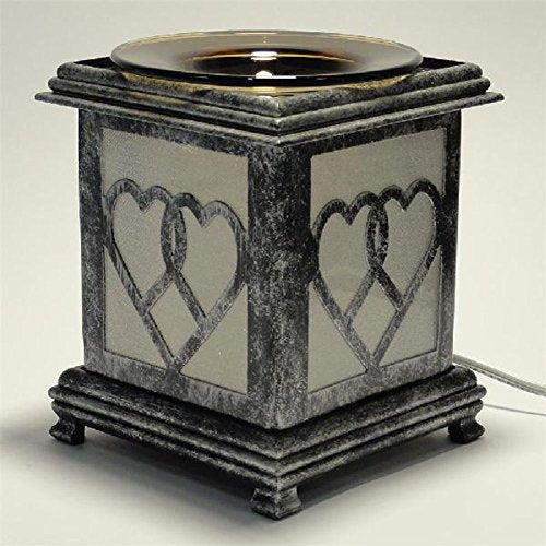 Antique Silver Metal Oil Warmer or Tart Burner with Free Pack Tart Melts and Free Replacement Bulb