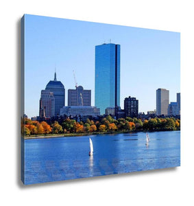Gallery Wrapped Canvas, Boston Massachusetts Skyline Behind Charles River