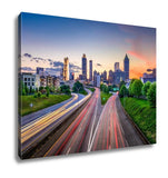 Gallery Wrapped Canvas, Atlantgeorgiusdowntown City Skyline Over Freedom Parkway