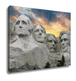 Gallery Wrapped Canvas, Sunset Over Mount Rushmore South Dakota U S A