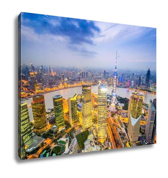 Gallery Wrapped Canvas, Shanghai China City Skyline Over The Pudong Financial District