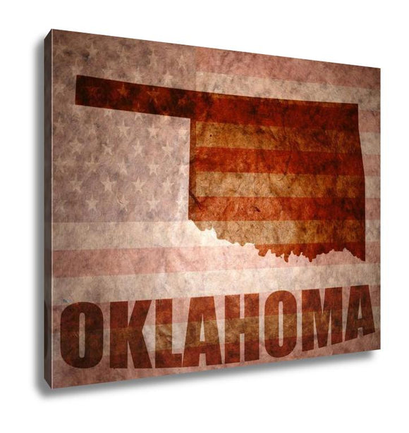 Gallery Wrapped Canvas, Vintage Oklahoma Map