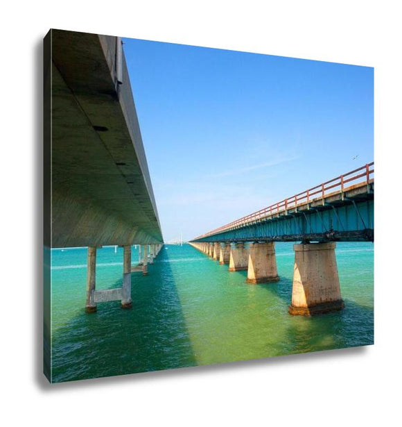 Gallery Wrapped Canvas, Bridges Going To Infinity Seven Mile Bridge In Key West Florida