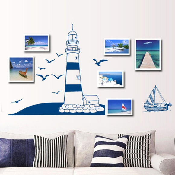 Blue Sailboat Seagull Wall Stickers Small Pure Fresh Style Photo Frame Decorative Stickers Background Wall