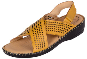 Venturini Women's Yellow Synthetic Leather Crossover Wedges