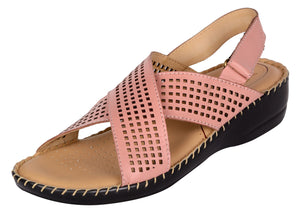 Venturini Women's Pink Synthetic Leather Crossover Wedges