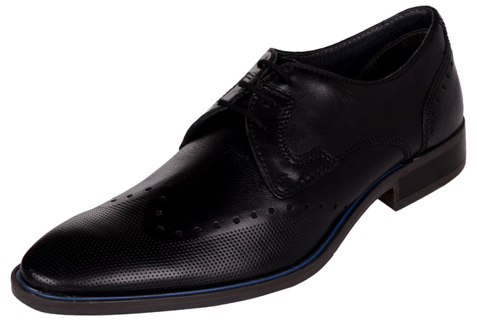 Venturini Men's Black Leather Lace-up Brogue Shoes
