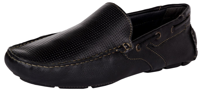 Venturini Men's Black Leather Slip On Loafers