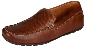 Venturini Men's Brown Leather Slip-on Loafers