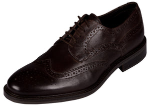 Venturini Men's Dark Brown Leather Lace-up Brogue Shoes