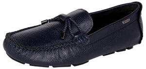 Venturini Men's Blue Leather Slip On Loafers