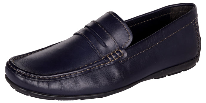 Venturini Men's Navy Blue Leather Slip On Loafers