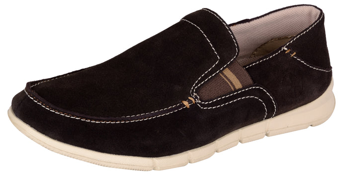 Venturini Men's Dark Brown Suede Leather Slip On Loafers