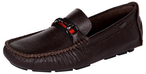 Venturini Men's Coffee Brown Leather Slip On Loafers