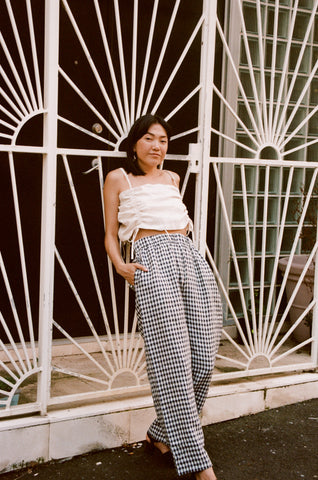 Scrunchie Pants — Small Navy Check