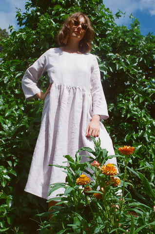 Emma Dress — Mini Lilac Check