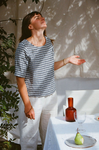 Anna Blouse — Small Navy Check
