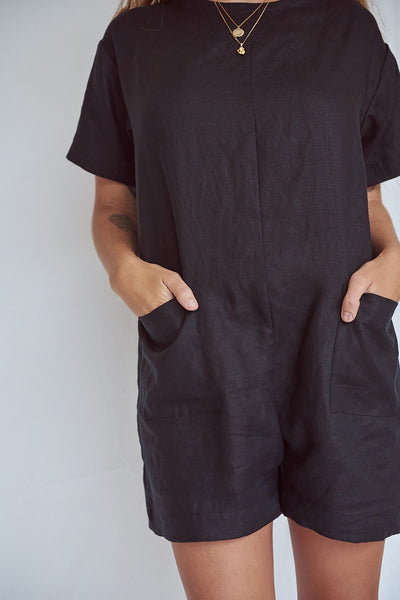 Black Pocket Romper
