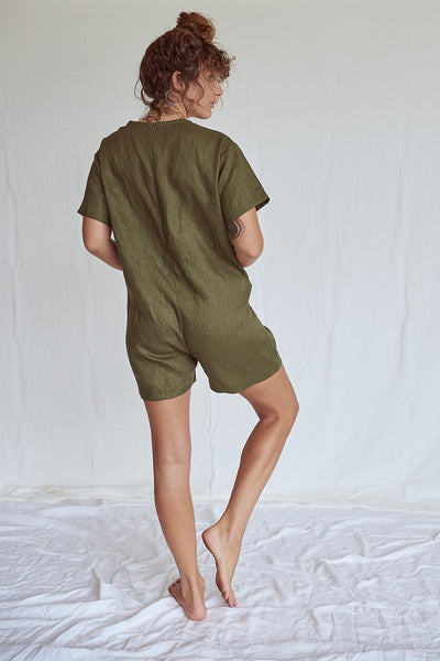 Olive Pocket Romper