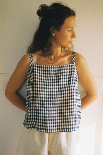 Strappy Top — Small Navy Check