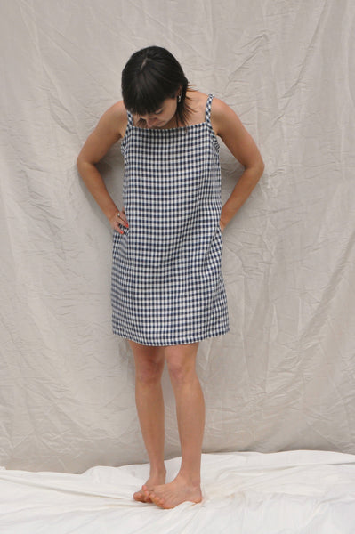 Strappy Dress — Small Navy Check
