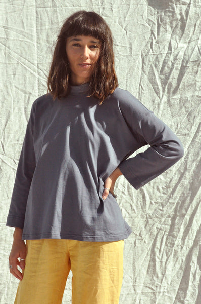 Long Sleeve Big Tee — Blueberry