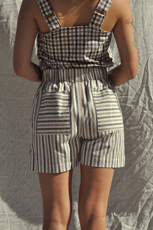 Scrunchie Shorts — Alfresco Stripe