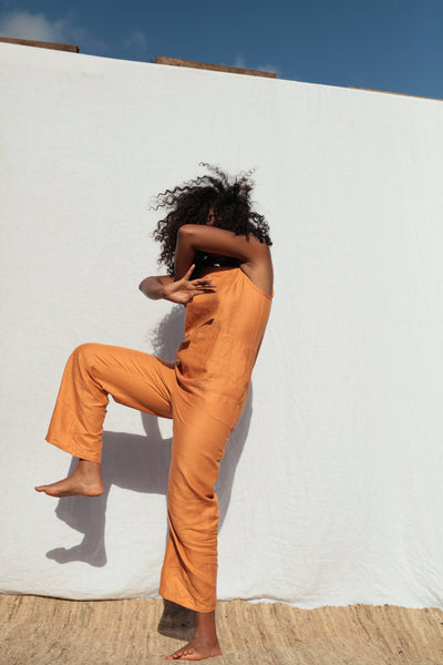 Tangerine Strappy Jumpsuit
