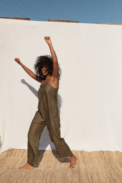 Olive Strappy Jumpsuit